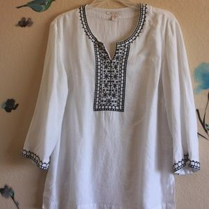 JM Collection Embroidered Linen Tunic